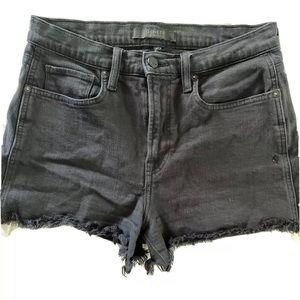 Genetic Black Fringe High Waisted Denim Shorts